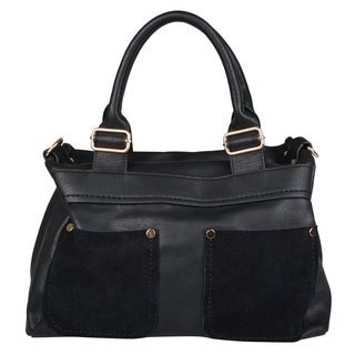 Journee Collection Womens Faux Leather Double Handle Satchel