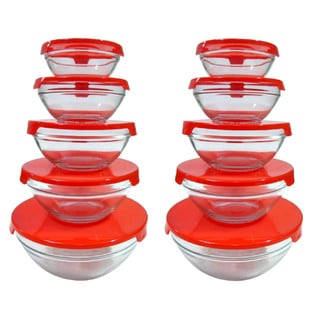 Alpine Cuisine 5-piece Nesting Glass Bowl Set with Red Lids (Pack of 2)