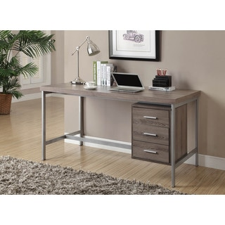 Dark Taupe Reclaimed Look Silver Metal Office Desk