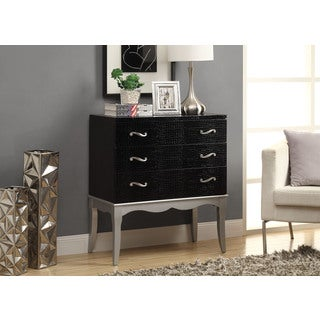 Black Crocodile Texture Contemporary Bombay Chest