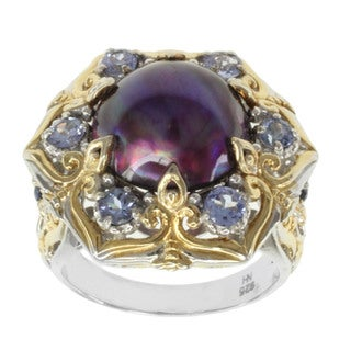 Michael Valitutti Two-tone Purple Mabe Pearl, Amethyst and White Sapphire Ring (12 mm)