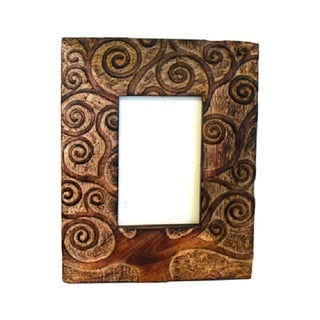Handcrafted Carved Mango Wood Tree of Life Frame (India)