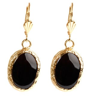 ELYA Goldplated Brass Black Onyx Earrings