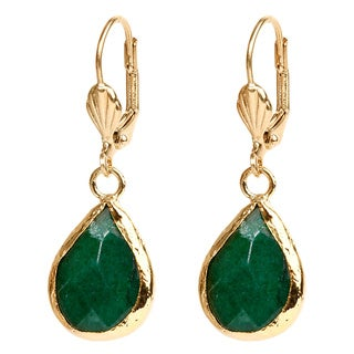 ELYA Goldplated Brass Green Dyed Chalcedony Earrings