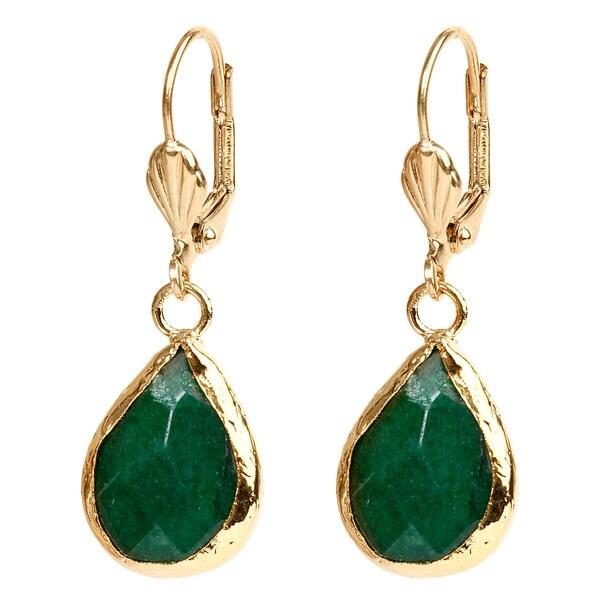 ELYA Goldplated Brass Green Dyed Chalcedony Earrings 11688864