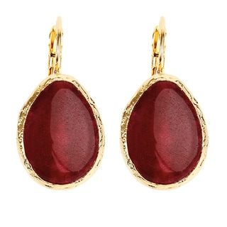 ELYA Goldplated Brass Red Dyed Chalcedony Earrings