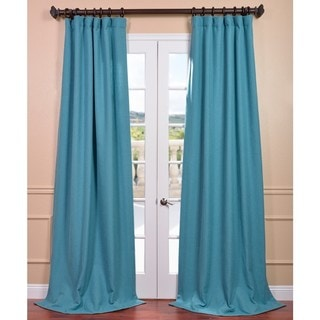 Teal 'Ivy' Linen Weave Curtain Panel