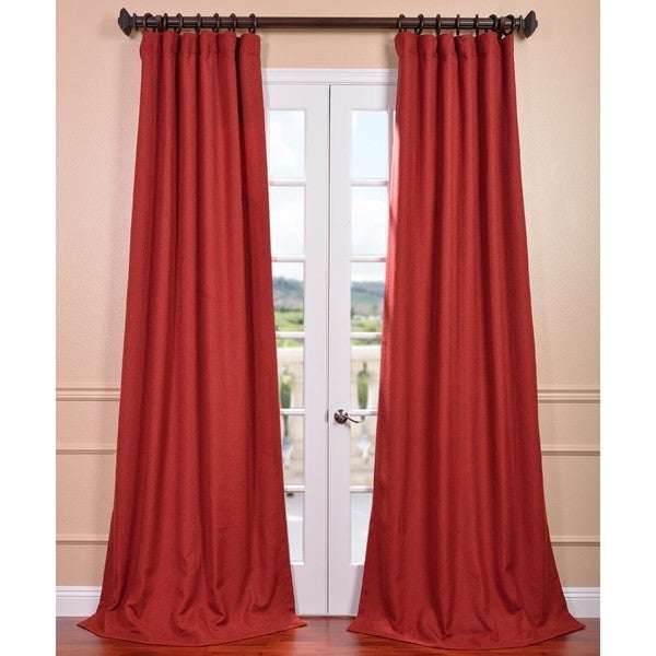 Red Linen Curtain Panel