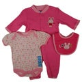Bon Bebe Girls Cotton Love You Bib Set in Pink