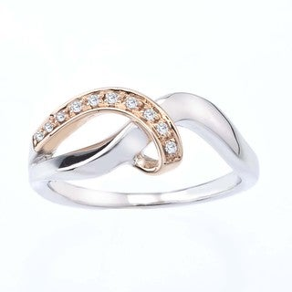 10k Rose Gold and Sterling Silver Diamond Accent Ring