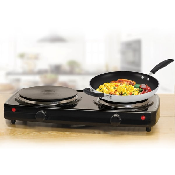 Black Electric Double Buffet Burner and Cast Iron Cooking Plates