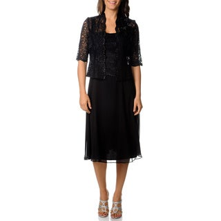 R & M Richards Women's Black Lace Dress and Jacket Set
