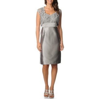 R & M Richards Women's Grey Lace Bodice Dress and Shrug Set