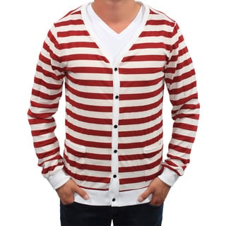 Something Strong Men's Salmon-and-White Striped Lightweight Cardigan