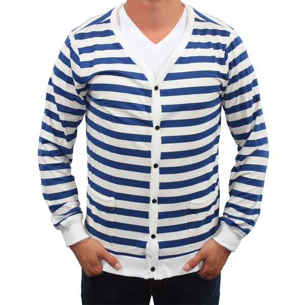 Something Strong Men's Blue-and-White Striped Lightweight Cardigan