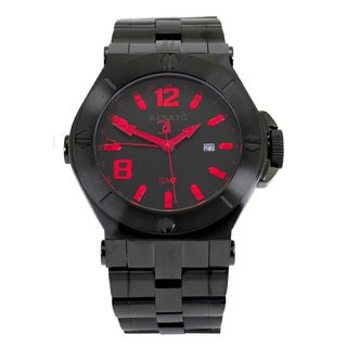 Renato Men's Black IP Wilde-Beast 'Mystic' Swiss Quartz Bracelet Watch