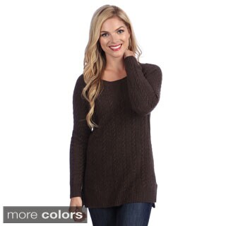 Ply Cashmere Women's Rib Knit High-low Sweater