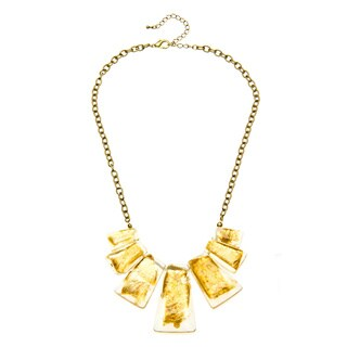 Alexa Starr Goldtone Gold Fleck Lucite Bib Necklace