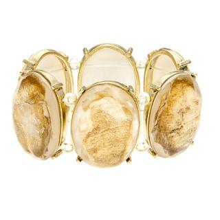 Alexa Starr Goldtone Gold Fleck Lucite Stretch Bracelet