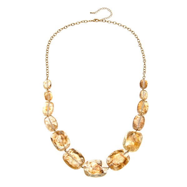 Alexa Starr Goldtone Long Gold Fleck Lucite Necklace