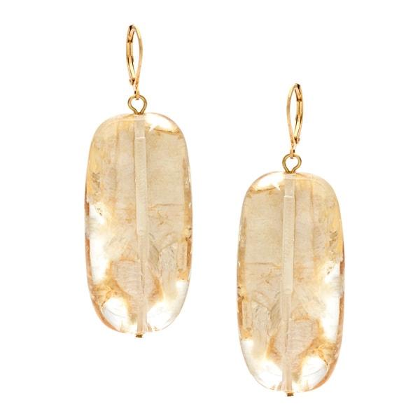 Alexa Starr Goldtone Linear Gold Fleck Lucite Drop Earrings