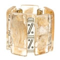Alexa Starr Goldtone Etched Bar and Gold Fleck Lucite Stretch Bracelet