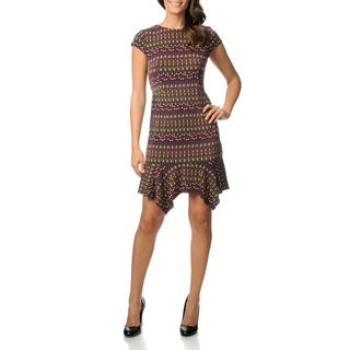 Julian Taylor Women's Petite Jewel Printed Jersey Knit Dress