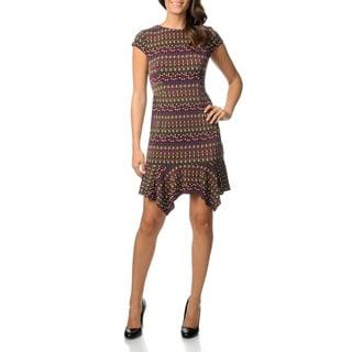 Julian Taylor Women's Petite Jewel Printed Jersey Knit Dress