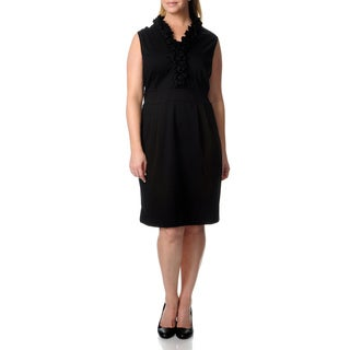 Julian Taylor Women's Plus Black Ruffled Neck Ponte Dress