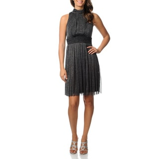 London Times Women's Black and Silver Glitter Knit Dress