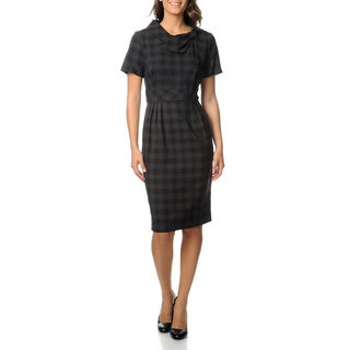 Julian Taylor Women's Charcoal Plaid Career Dress