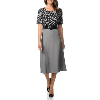 Julian Taylor Women's Black and Grey 2fer Full Skirt Dress