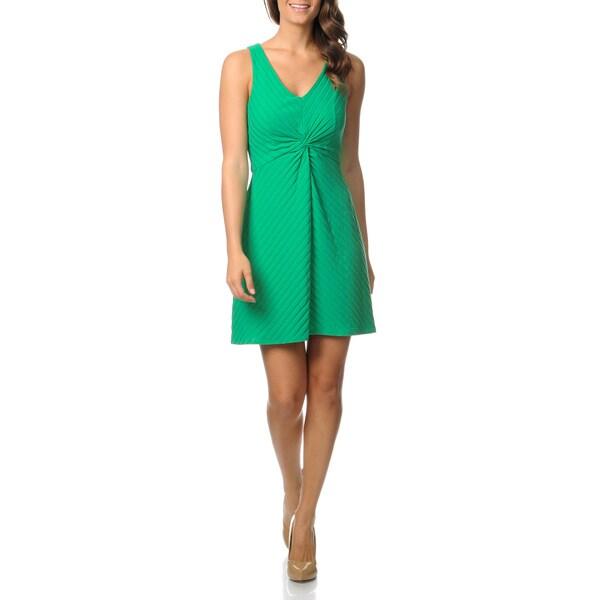 Gabby Skye Women's Green Knot Front Sleeveless Dress
