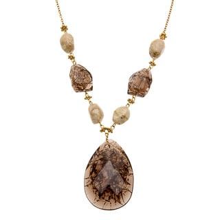 Alexa Starr Goldtone Lucite Teardrop Necklace