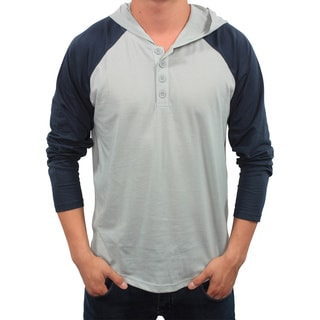 Something Strong Men's Gray and Midnight Hooded Henley Shirt