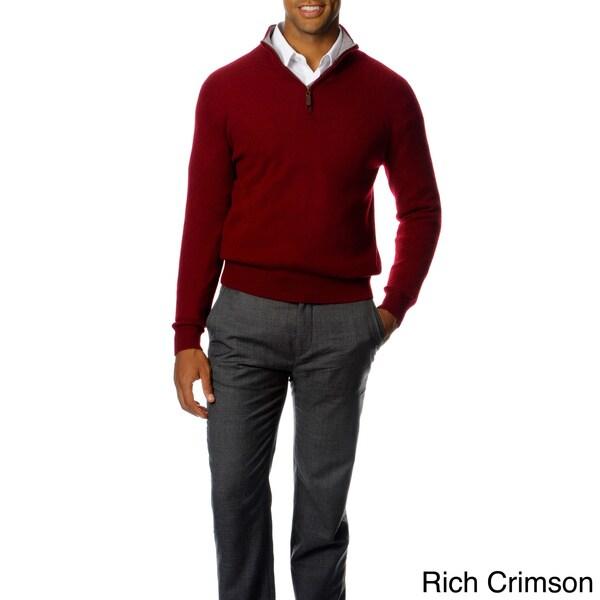 Ply Cashmere Men's Cashmere Mock-zip Contrast Sweater