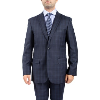 Zonettie by Ferrecci Men's Slim Fit Checkered Navy 2-button Suit