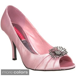 Bordello Women's 'Violette-06' Satin Ornament Peep-toe Pumps