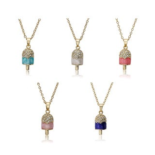 Molly Glitz 14k Goldplated Children's Crystal and Enamel Popsicle Necklace