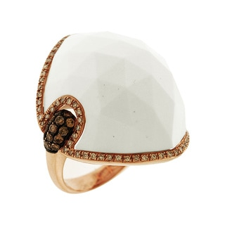 14k Rose Gold White Agate and 1/4ct TDW Diamond Ring (G-H, SI3)