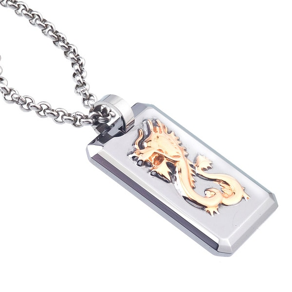 Rose Ion-plated Tungsten and Steel Men's Dragon Dog Tag Necklace