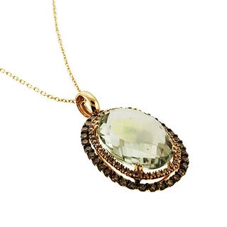 Sonia Bitton 14k Gold Green Amethyst and 4/5ct TDW Diamond Necklace (G-H, I1-I2)