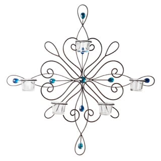 Elements 23-inch 5-tealight Blue Gem Sconce