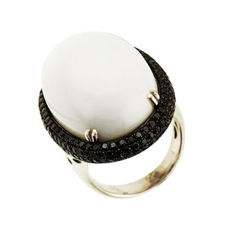 Sonia Bitton 14k Gold White Agate and 1 3/4ct TDW Black Diamond Ring