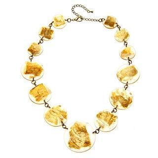 Alexa Starr Goldtone Fleck Lucite Disc Necklace