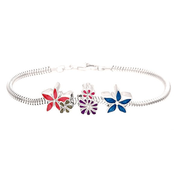 Silver Blue, Pink and Purple Enamel Flower Bead Charm Bracelet