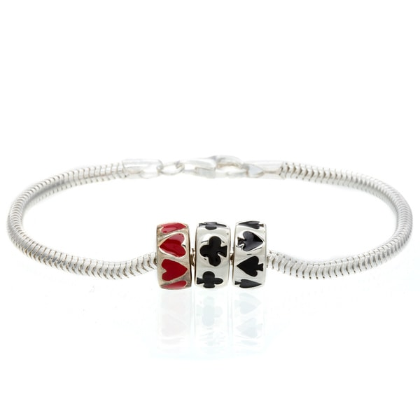 Sterling Silver Black and Red Card Suit Bead Charm Bracelet