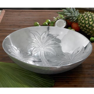 18-inch Etched Tropical Palm Tree Round Serving Bowl