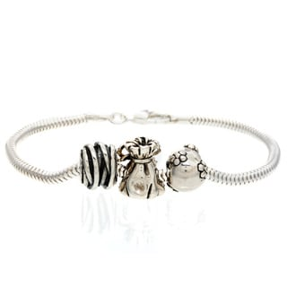 Sterling Silver Flower, Bag and Wrap Bead Bracelet