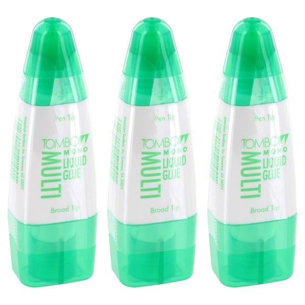 Tombow Mono Multi-liquid Glue Adhesive Pen Tip and Broad Tip Clear (Pack of 3)
